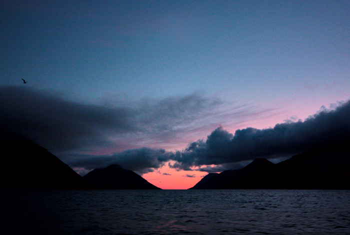Atlantic Dawn -- the islands of Eysturoy and Bordoy and the fjord of Leirvik!