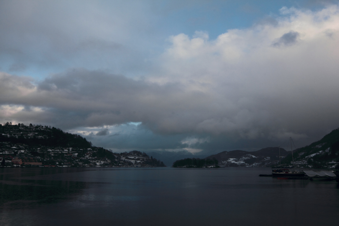 Hardangerfjord from Norheimsund, looking out from the harbour.
