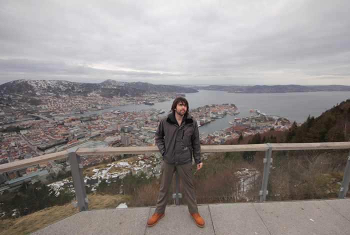 Sebastian, above Bergen (Bryggen over my left shoulder!)