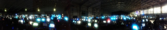 A (crappily) stitched together mobile phone panorama of i46 LAN party
