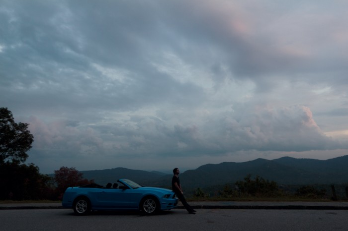 Seb, and his convertible Mustang, somewhere on the Blue Ridge Parkway at sunset