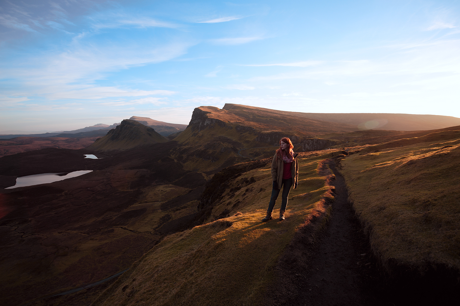 Shannon on the Quiraing, on the Isle of Skye, Scotland