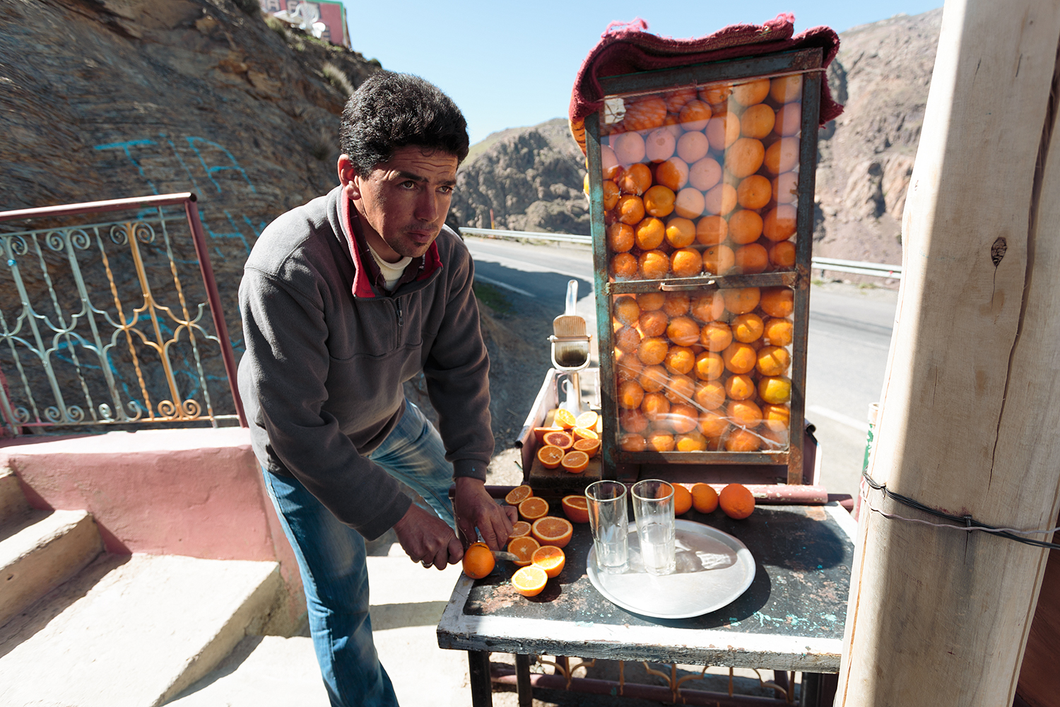 Intense orange squeezing, in the Atlas Mountains