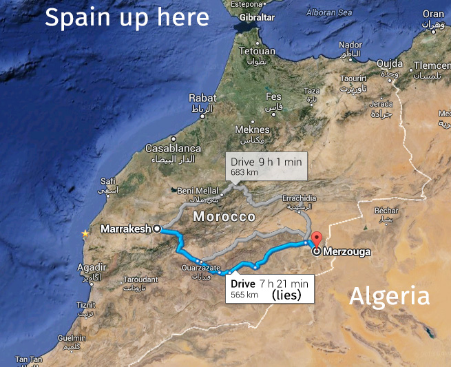 Marrakech to Merzouga, annotated map